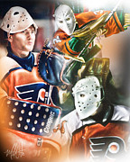 Goalie Mask Framed Prints - Pelle Lindbergh Framed Print by Mike Oulton