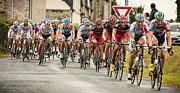 French Cyclists Prints - Peloton at Mellionec - Tour de France 2011 Stage 4 Print by Jon Boyes