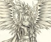 Wings Drawings - Pelusis God of Law and Order by Shawn Dall