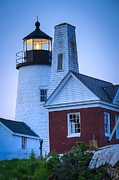 Pemaquid Lighthouse Posters - Pemaquid Aglow Poster by Tamara Becker