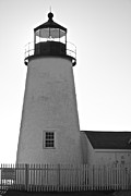 Pemaquid Lighthouse Posters - Pemaquid Lighthouse Black and White Poster by Amazing Jules