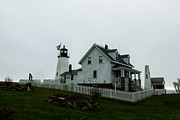 Pemaquid Lighthouse Posters - Pemaquid Lighthouse in the Rain Poster by Kaye Seaboch