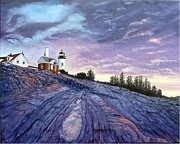 Pemaquid Lighthouse Painting Framed Prints - Pemaquid Point Dawn Framed Print by Fran Brooks