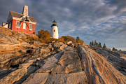 Maine Lighthouses Posters - Pemaquid Point Light VII Poster by Clarence Holmes