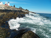 Bass Head Lighthouse Posters - Pemaquid Point Lighthouse 1 Poster by Joseph Marquis