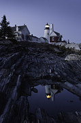 Bluesky Prints - Pemaquid Point Lighthouse At Night in Maine Print by Keith Webber Jr