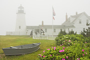 Keepers House Photos - Pemaquid Point Lighthouse in Fog Maine Prints by Keith Webber Jr