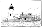 Maine Lighthouses Drawings Posters - Pemaquid Point Lighthouse Poster by Ira Shander