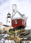 Pemaquid Lighthouse Painting Framed Prints - Pemaquid Point Lighthouse Maine Framed Print by Gail Sellers