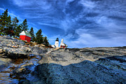 Nancie Martin Demellia Art - Pemaquid Point Lighthouse  by Nancie Martin DeMellia