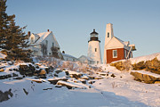 Pemaquid Point Lighthouse Winter In Maine  Print by Keith Webber Jr