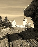 Pemaquid Lighthouse Posters - Pemaquid Point Sepia Poster by Joseph Marquis