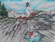 Pemaquid Lighthouse Painting Framed Prints - Pemaquid Point Framed Print by Valerie Greene