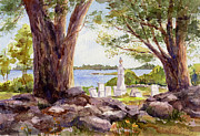 Headstones Paintings - Pemaquid Sentinels by Leslie Fehling