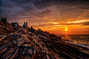 Pemaquid Lighthouse Digital Art Framed Prints - Pemaquid Sunrise  Framed Print by Jerry Fornarotto