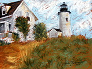 New England. Pastels Posters - Pemiquid Point Light Poster by Lenore Gaudet