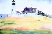 Green Field Paintings - Pemquid Point Lighthouse White House by Gail Sellers