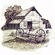 Barn Drawing Drawings - Pen and Ink 8 by Carol Hart