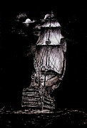 Pirates Drawings Posters - Pen and Ink Drawing of Ghost Boat in black and white Poster by Mario  Perez