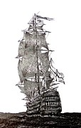 Galleons Art - Pen and Ink Drawing of Sail Ship in Black and White by Mario  Perez