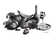 Pen And Ink Drawing Prints - Pen and Ink Drawing of Still Life in Black and White Print by Mario  Perez