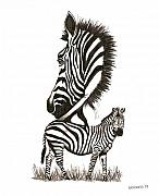 Ink Art - Pen and Ink drawing of Zebra in Black and White by Mario  Perez