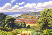 Lagoon Painting Prints - Penasquitos Lagoon with Clouds Print by Mary Helmreich