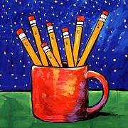 Pencils Paintings - Pencils in a Cup by Dale Moses