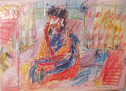 Pensive Drawings Originals - Penelope Pensive by Esther Newman-Cohen
