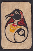 Birds Reliefs Posters - Penguin and Chick Poster by Penguin M