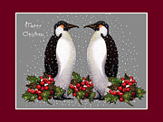 Christmas Greeting Pastels Framed Prints - Penguin Couple Christmas Card Framed Print by Joyce Geleynse