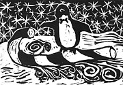 Relief Print Painting Prints - Penguin on Candy cane Sled  a block print  Print by Ellen Miffitt