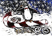 Relief Printing Framed Prints - Penguin on Candy cane Sled Framed Print by Ellen Miffitt
