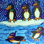 Winter Fun Drawings Posters - Penguin Play Poster by Christy Brammer