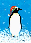 Christmas Framed Prints - Penguin Santa One Framed Print by Linda Mears
