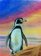 Penguin Pastels Posters - Penguin Poster by Tiffany Albright