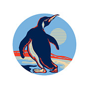Penguin Framed Prints - Penguin Walking Moon Retro Framed Print by Aloysius Patrimonio
