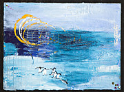 North Pole Paintings - Penguins Abstract by Tracy L Teeter