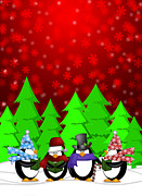 Quartet Digital Art Posters - Penguins Carolers Singing with Red Winter Scene Illustration Poster by JPLDesigns