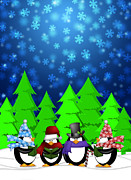 Quartet Digital Art Posters - Penguins Carolers Singing with Winter Snowing Scene Illustration Poster by JPLDesigns
