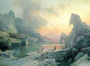 Glacier Paintings - Penguins in an Arctic Landscape at Dusk by Herman Herzog
