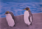 Penguin Pastels Posters - Penguins on a stroll Poster by Byron Moss