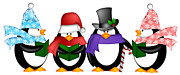 Quartet Digital Art Posters - Penguins Singing Christmas Carol Cartoon Clipart Poster by JPLDesigns
