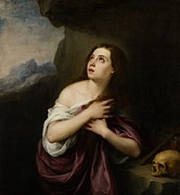Skull Paintings - Penitent Magdelene by Bartolome Esteban Murillo