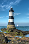Lighthouse Digital Art - Penmon Point Sailing by Adrian Evans