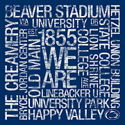 Universities Posters - Penn State College Colors Subway Art Poster by Replay Photos