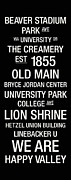 White Lion Posters - Penn State College Town Wall Art Poster by Replay Photos