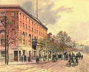 Carriages Posters - Pennsylvania Avenue and 6th Street 1860 Poster by Padre Art