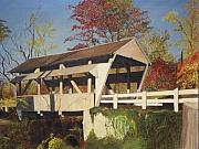 Rose Cottage Gallery Posters - Pennsylvania Covered Bridge Poster by Barbara McDevitt