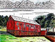 Pen And Pencil Drawings Drawings - Pennsylvania Dutch Barn by David Wetzel